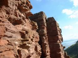 macduff catle, close up of erosion of castle sandstone