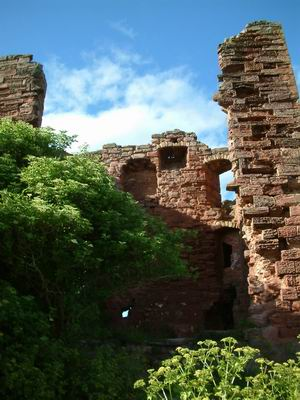 macduff castle, looking into the tower through the gaping hole