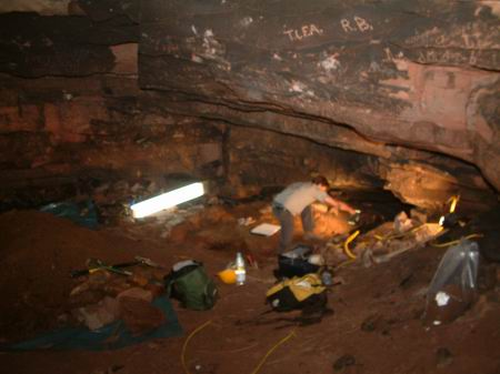 wemyss caves, general view of the work underway in the well cave