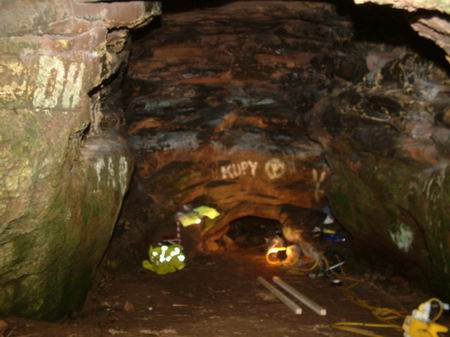 wemyss caves, looking from the gate to the tunnel into the well cave