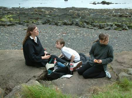 wemyss caves, enjoying a break on the beach