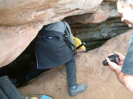 wemyss caves, cameras and equipment being taken into the sloping cave