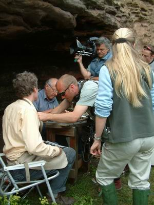 wemyss caves, preparing for filming at the fern cave